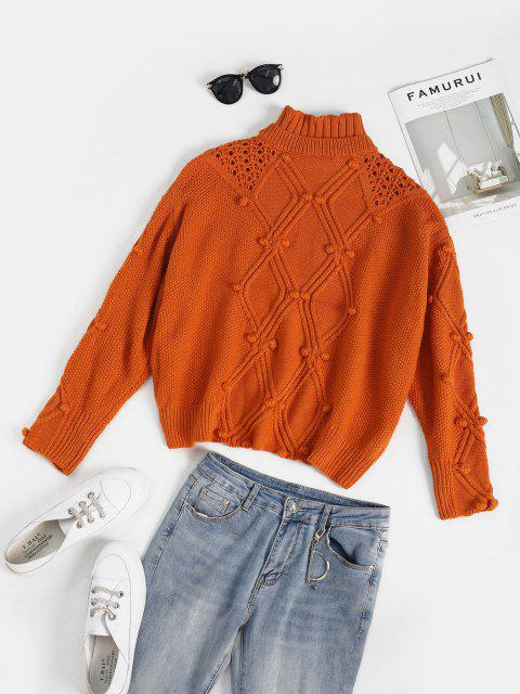 trendy Open Knit Oversized Pompoms Sweater - DARK ORANGE ONE SIZE Mobile