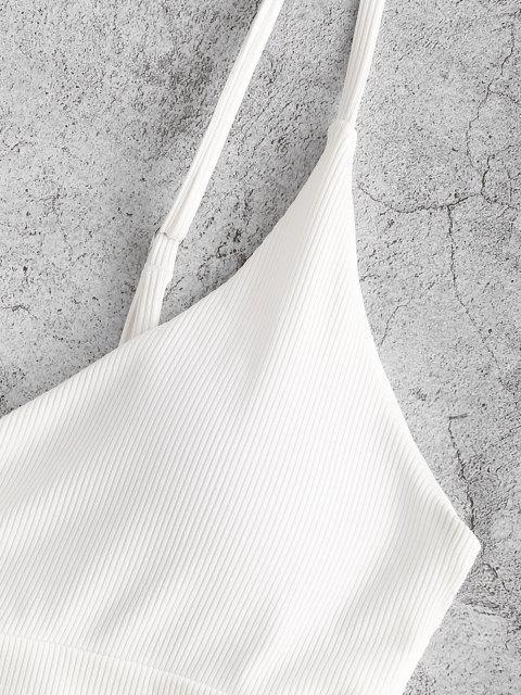 ZAFUL Débardeur de Bain Côtelé Superposé - Blanc M Mobile
