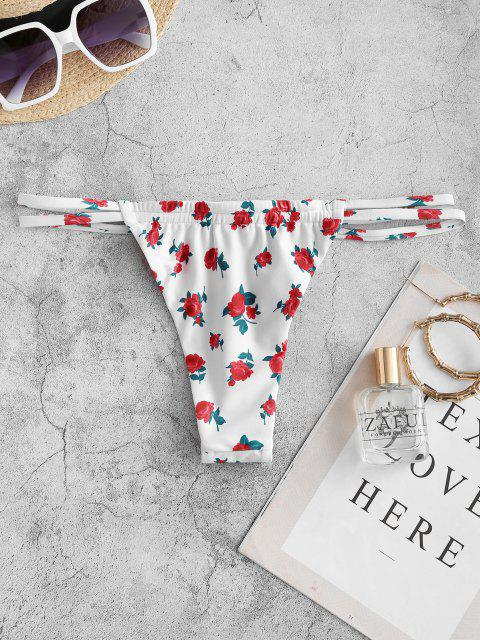 shops ZAFUL Floral Dual Strap Ruched String Bikini Bottom - RED S Mobile