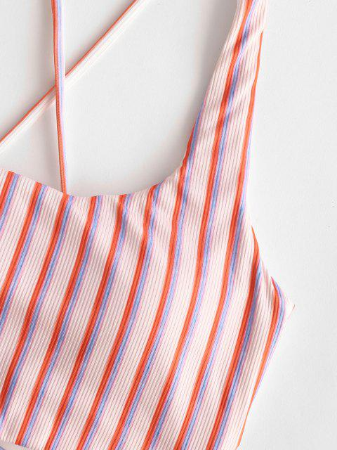 unique ZAFUL Ribbed Striped Lace Up Swim Top - LIGHT PINK M Mobile