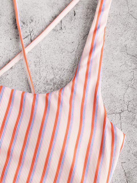 ZAFUL Costume da Bagno Tankini a Costine con Lacci a Strisce Colorate - Rosa chiaro S Mobile