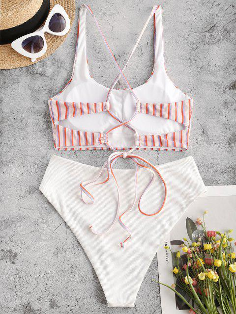 women ZAFUL Ribbed Striped Lace Up Mix and Match Tankini Swimwear - LIGHT PINK M Mobile