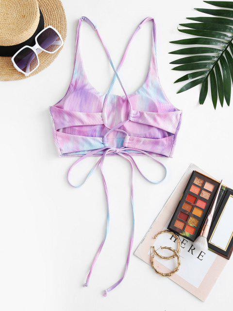 ZAFUL Crisscross Tie Dye Lace Up Bikini Top - ضوء ارجواني L Mobile