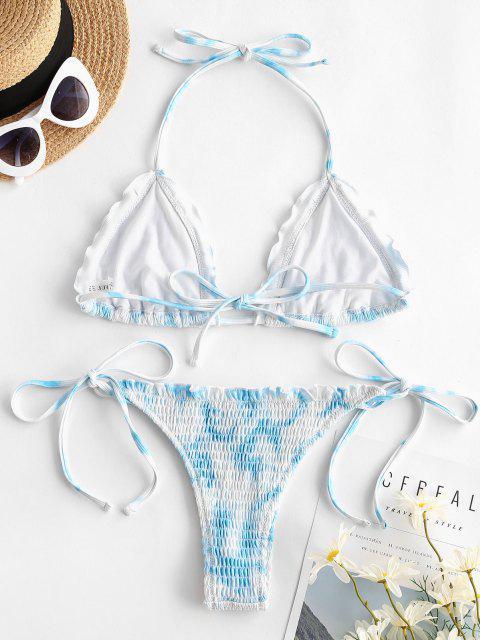 ZAFUL Conjunto de Bikini Plisado Teñido Anudado - Azul claro S Mobile