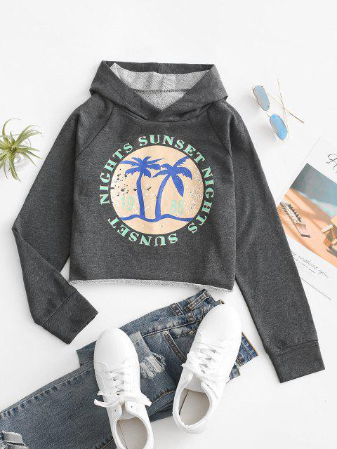 ladies French Terry Raw Cut Coconut Tree Graphic Hoodie - CARBON GRAY M Mobile