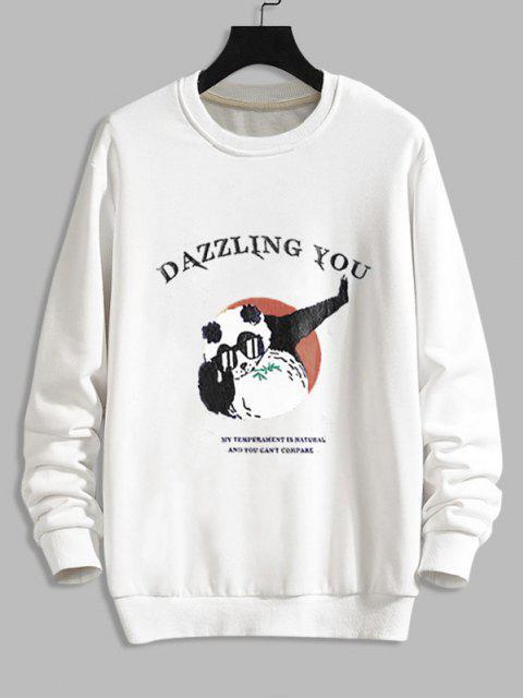 Cartoon Grafikdruck Lustiges Sweatshirt - Weiß M Mobile
