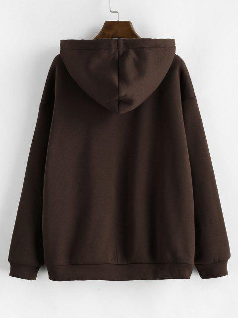 ZAFUL Pockets Zip Up Fleece Lined Hoodie - القهوة العميقة L Mobile