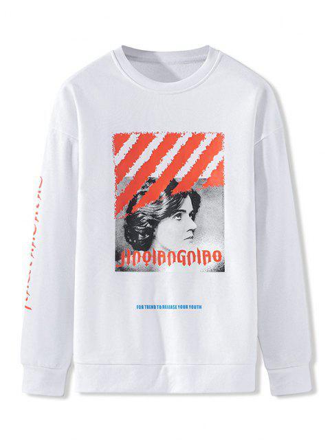 Charakter Buchstabe Muster Rundhalsausschnitt Sweatshirt - Weiß L Mobile