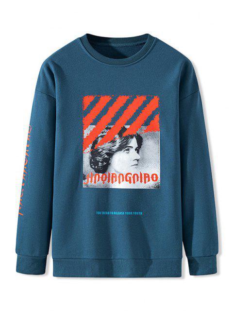 Sweatshirt Imprimé en Lettres à Col Round - Bleu M Mobile