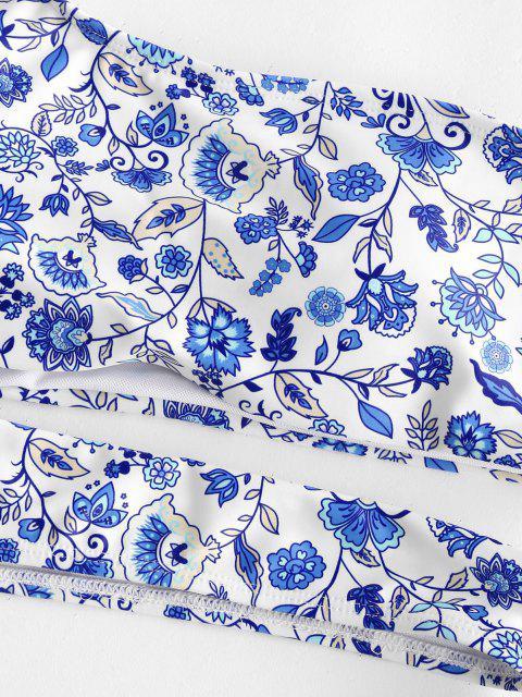 ZAFUL Maillot de Bain Tankini Découpé Fleur à Une Epaule à Jambe Haute - Bleu S Mobile