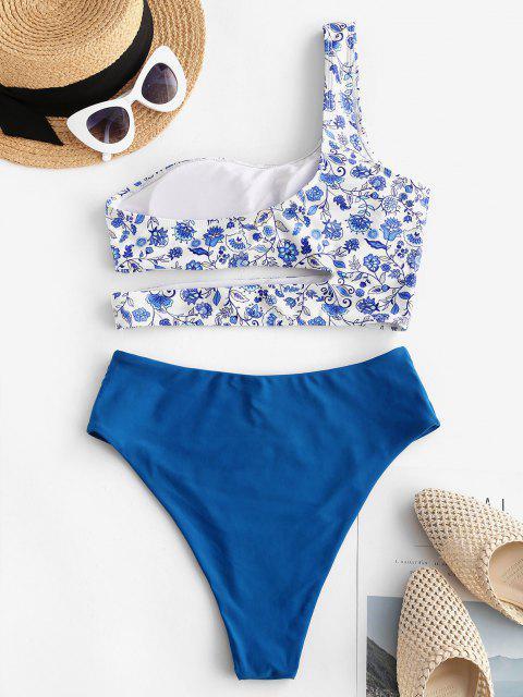 unique ZAFUL Flower One Shoulder Cutout High Leg Tankini Swimwear - BLUE M Mobile