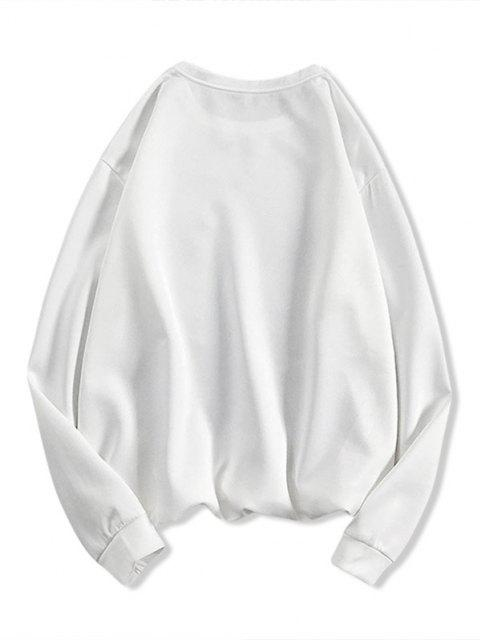 Sweat-shirt à Motif et Lettre - Blanc S Mobile