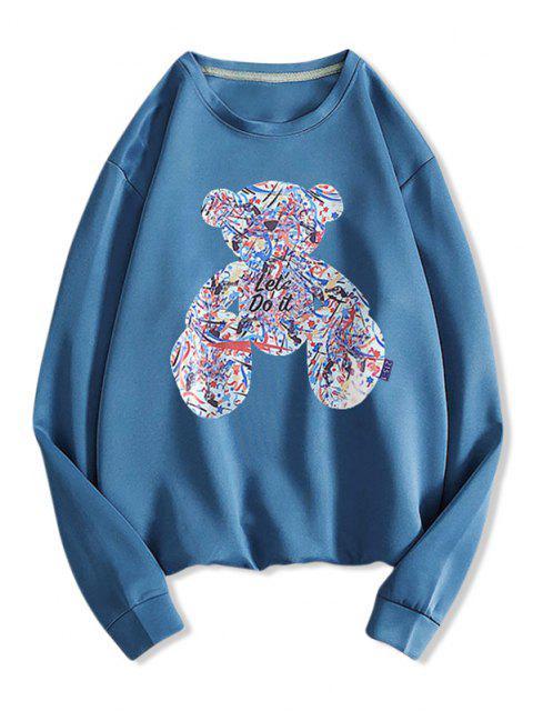 Sweat-shirt à Motif et Lettre - Paon Bleu M Mobile