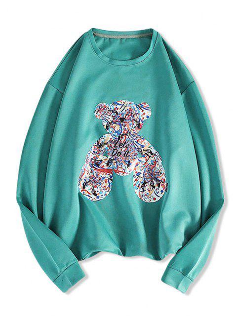 Sweat-shirt à Motif et Lettre - Bleu Verdâtre M Mobile