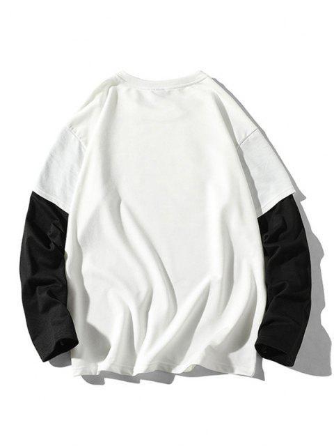 Sweat-shirt Fantôme Animé Imprimé à Manches de Docteur - Blanc 4XL Mobile