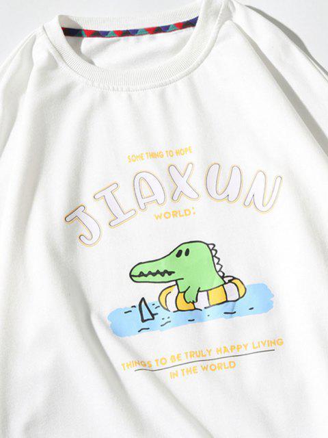 women's Cartoon Dinosaur Slogan Print Crew Neck Sweatshirt - WHITE M Mobile