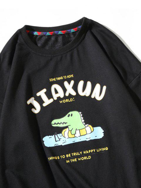 outfit Cartoon Dinosaur Slogan Print Crew Neck Sweatshirt - BLACK L Mobile
