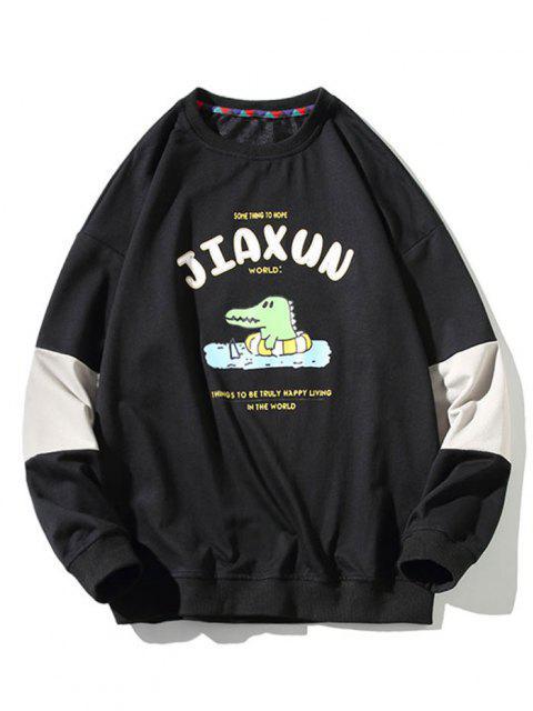 Sweat-shirt Dinosaure Dessin Animé Imprimé Slogan à Col Rond - Noir 4XL Mobile