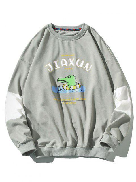 Sweat-shirt Dinosaure Dessin Animé Imprimé Slogan à Col Rond - Gris 4XL Mobile