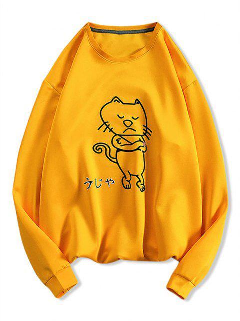 Verärgerte Cartoon Katzen Muster Sweatshirt - Gelb XS Mobile