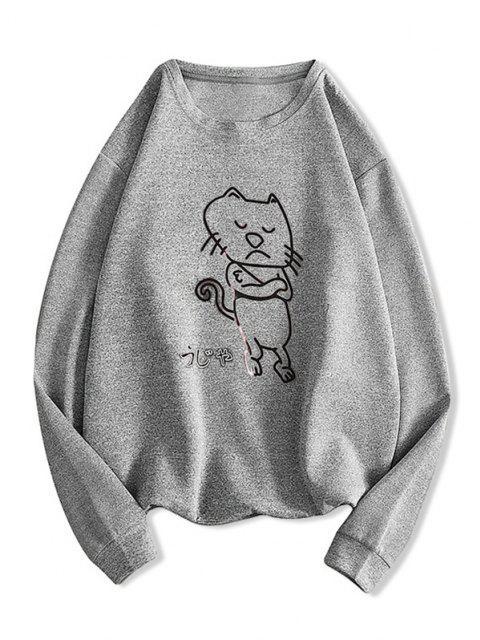 Moletom Padrão de Gato dos Desenhos Animados - Cinza claro L Mobile