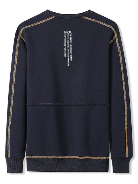 shop Contrast Stitching Crew Neck Lounge Sweatshirt - DENIM DARK BLUE 4XL Mobile