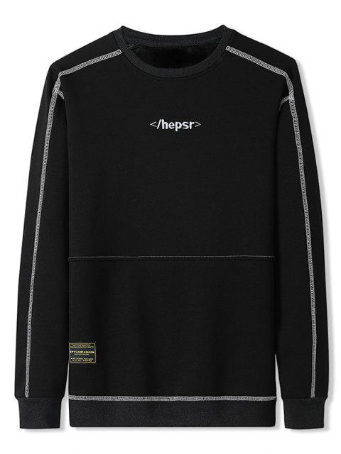 Sweat-shirt Long Cousu Contrasté à Col Rond - Noir 4XL Mobile