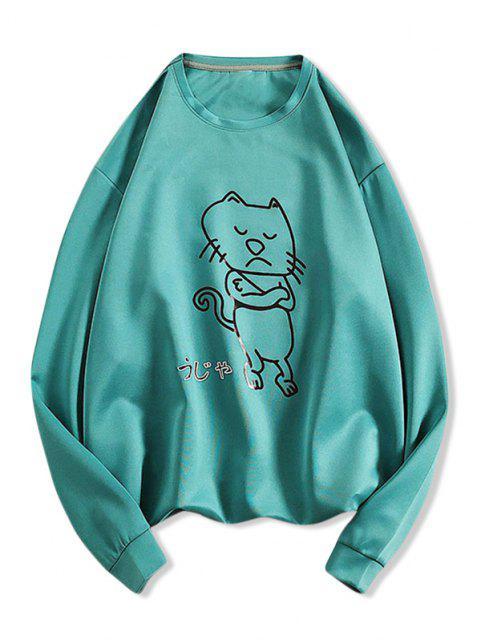 Verärgerte Cartoon Katzen Muster Sweatshirt - Blaugrün L Mobile