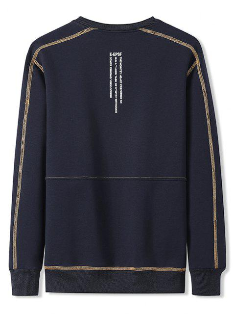 hot Contrast Stitching Crew Neck Lounge Sweatshirt - DENIM DARK BLUE L Mobile