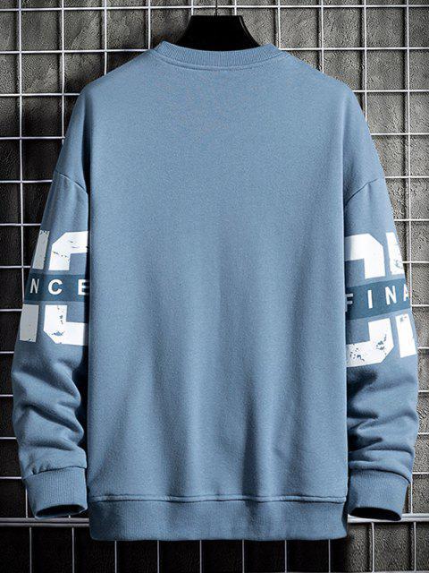Rundhalsausschnitt Buchstabe Druck Kapuze Sweatshirt - Marmor Blau 4XL Mobile
