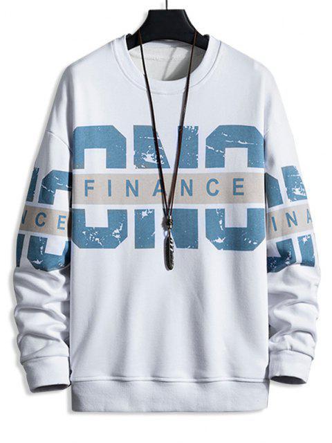shops Crew Neck Letter Print Pullover Sweatshirt - WHITE 4XL Mobile