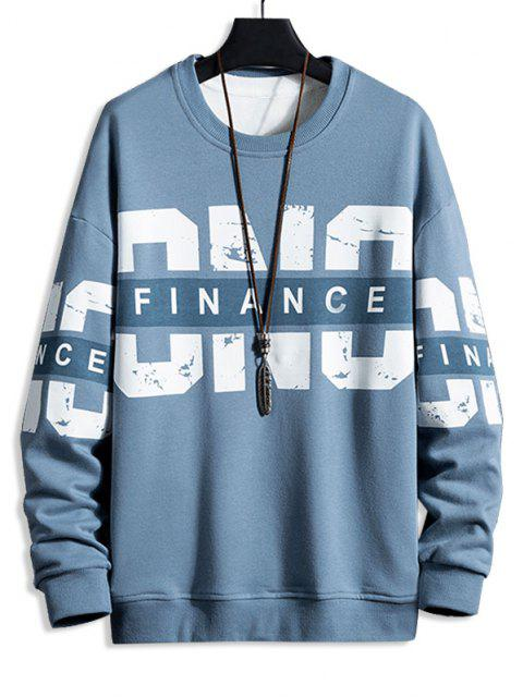 womens Crew Neck Letter Print Pullover Sweatshirt - MARBLE BLUE 2XL Mobile