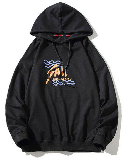 Tier Buchstabe Grafik Känguru Taschen Hoodie - Schwarz L Mobile