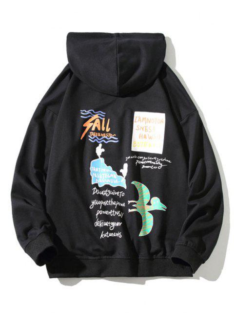 outfit Animal Letter Graphic Kangaroo Pocket Hoodie - BLACK 4XL Mobile