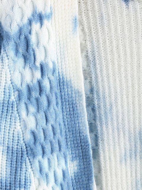 affordable Tie Dye Mixed Knit Drop Shoulder Cardigan - LIGHT BLUE L Mobile