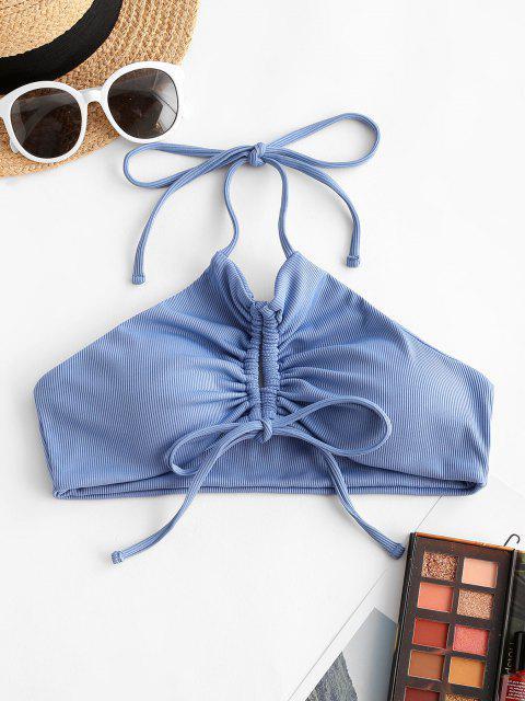 ZAFUL Halter Keyhole Ribbed Cinched Bikini Top - أزرق S Mobile