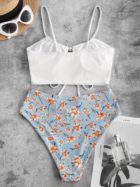 ZAFUL Gerippte Tankini Badebekleidung mit Blumenmuster und Tunnelzug - Weiß M Mobile