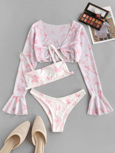 shop ZAFUL Ribbed Butterfly Print Flare Sleeve Three Piece Bikini Swimwear - LIGHT PINK M Mobile