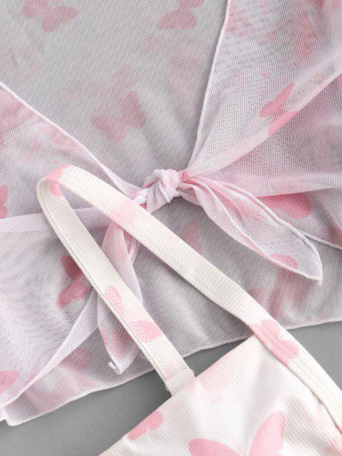 shops ZAFUL Ribbed Butterfly Print Flare Sleeve Three Piece Bikini Swimwear - LIGHT PINK L Mobile