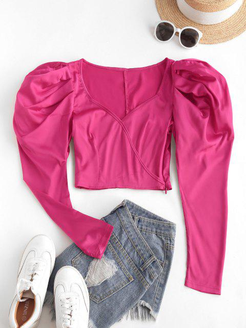 outfit Gigot Sleeve Surplice Crop Blouse - RED S Mobile