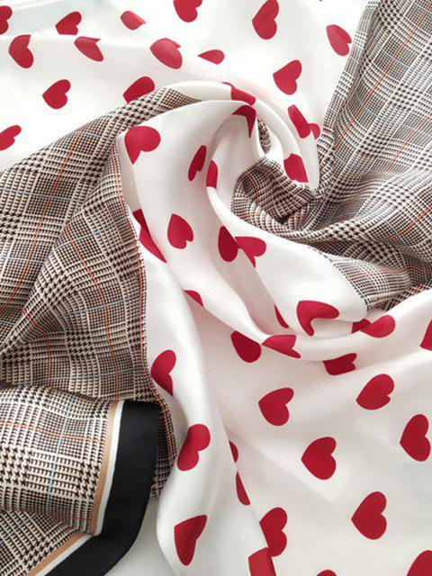 Herz Karierter Bedruckter Satin Quadratischer Schal - Rot  Mobile