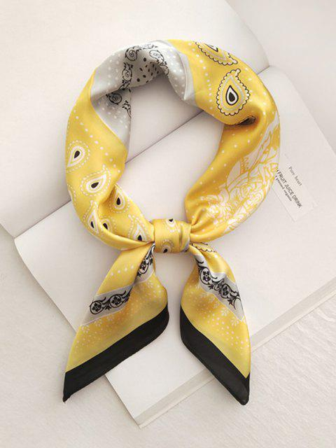 womens Paisley Dots Printed Satin Square Scarf - YELLOW  Mobile