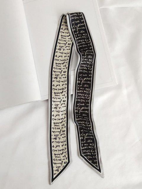 women Letter Printed Satin Narrow Scarf - BLACK  Mobile
