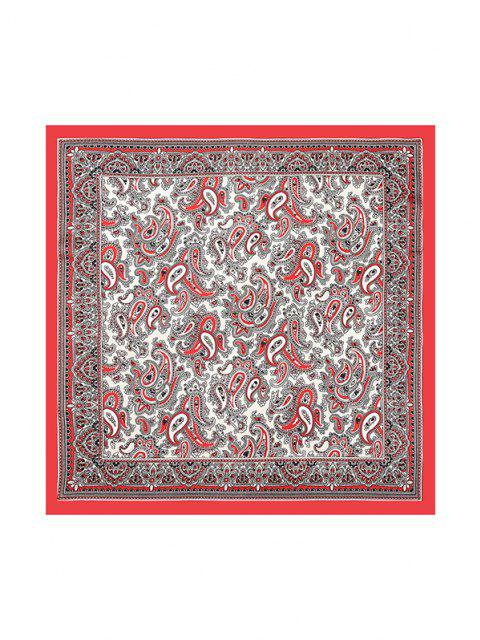 new Paisley Colorblock Printed Satin Square Scarf - RED  Mobile