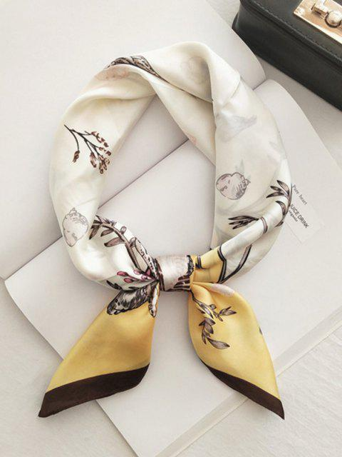 hot Retro Floral Printed Satin Square Scarf - YELLOW  Mobile