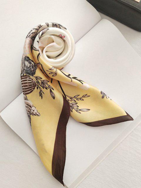 Retro Blumen Bedruckter Satin Quadrat Schal - Gelb  Mobile