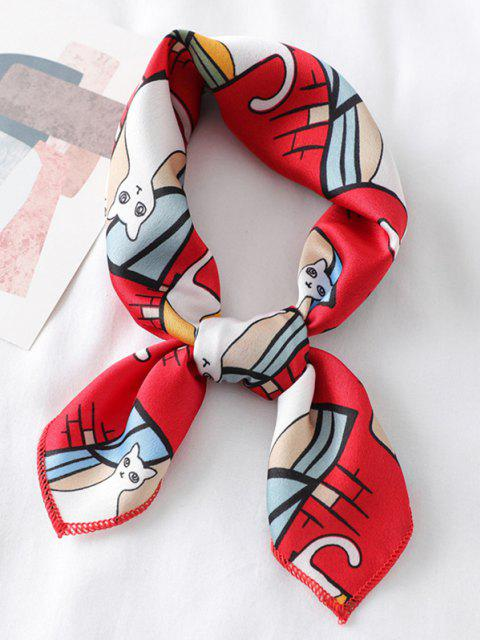 outfit Cute Kitten Printing Satin Square Scarf - RED  Mobile