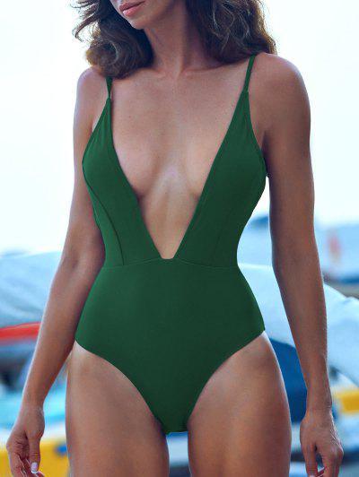 ZAFUL Tie Shoulder Backless Swimsuit - Medium Sea Green M