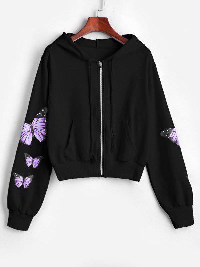 Pockets Zip Up Butterfly Hoodie - Black M