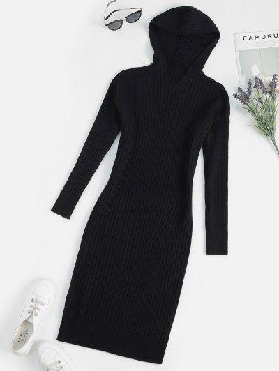Hooded Long Sleeve Ribbed Sweater Dress - Black